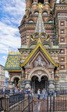 The Church of the Savior on the Spilled Blood. People going out of the exit gate. Stock Images