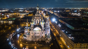 Church of the Savior on Spilled Blood in Saint Petersburg Aerial View Royalty Free Stock Image