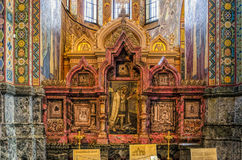 Church of the Savior on Spilled Blood in Saint Petersburg. Northern icon case. Stock Photo