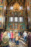 Church of the Savior on Spilled Blood in Saint Petersburg. Visitors of the church. Stock Image