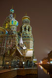 Church of Savior on Spilled Blood, St.Petersburg. Night winter view on the Church of the Saviour on Blood (Spas na Krovi) along the Griboedov canal in Saint Royalty Free Stock Images