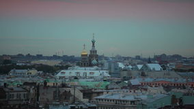 Church of the Savior on Spilled Blood in St. Petersburg in the evening stock video footage