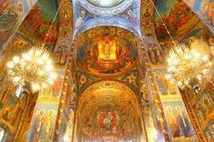 Church of the Savior on Spilled Blood in St. Petersburg. Interior of the Church of the Savior on Spilled Blood in Saint Petersburg, Russia Royalty Free Stock Images