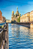 Church of the Savior on Spilled Blood, St. Petersburg, Russia. Scenic view of the Church of the Savior on Spilled Blood over the Griboyedov Canal Embankment Royalty Free Stock Image