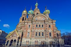 Church of the Savior on Spilled Blood in St. Petersburg in the w Stock Photos