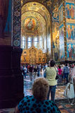 Church of the Savior on Spilled Blood. Tourists admire the mosa Royalty Free Stock Photos