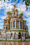 He Church of the Savior on the Spilled Blood. Wet view after sudden summer rain. Stock Photography