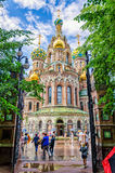 The Church of the Savior on the Spilled Blood. Wet view after sudden summer rain. Stock Images