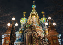 Church of the Saviour on Blood at night in the winter in St. Pet Royalty Free Stock Image