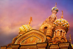 Church of the Saviour on Spilled Blood or Cathedral of the Resurrection of Christ at sunset, St. Petersburg Stock Image