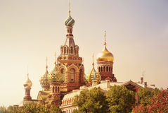 Church of the Saviour on Spilled Blood or Cathedral of the Resurrection of Christ at sunset, St. Petersburg, Russia Royalty Free Stock Image