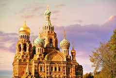 Church of the Saviour on Spilled Blood or Cathedral of the Resurrection of Christ at sunset, St. Petersburg, Russia Royalty Free Stock Photos
