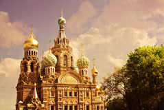 Church of the Saviour on Spilled Blood or Cathedral of the Resurrection of Christ at sunset, St. Petersburg, Russia Stock Image