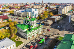 Church of Saviour in Tyumen and urban scene,Russia Stock Image