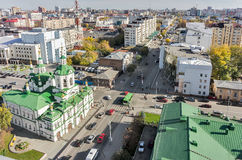 Church of Saviour in Tyumen and urban scene,Russia Stock Photography
