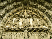 Church sculpture. Detail of the facade of the gothic Chartres cathedral in France stock photo