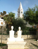 Church and Sculpture in Vrsar Stock Photography