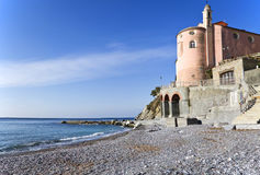 Church on the sea. The church of s Erasmus in Sori Stock Photography