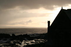 Church by the Sea. Winter in Fife, Scotland, 10 minutes before the snow started stock images
