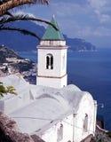 Church by the sea, Lone, Italy. Church and view down to Amalfi and Coas, Lone, Amalfi Coast, Campania, Italy, Europe Stock Photo