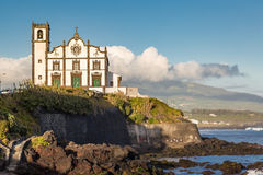 Church on the seafront town of Sao Rogue on Sao Miguel Island Stock Images