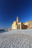 Church and seaside in Camogli Royalty Free Stock Photos