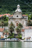 Church in the seaside town. Of Perast Royalty Free Stock Photo