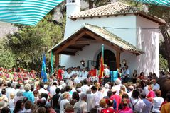 Church service and congretation, Marbella. Royalty Free Stock Images