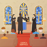 Church Service Religious  Ceremony Flat Banner Stock Image