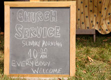 Church Service Sign Stock Image