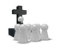 Church service. Simple pastor figure, christian cross symbol and crowd - 3d illustration Stock Photography