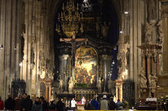 Church service in Stephansdom Vienna,Austria. Church service in Stephansdom Vienna. The most important religious building in Vienna, St. Stephens Cathedral has royalty free stock photo