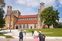 Church service on sunday. Going to church service on sunday in this wonderful Romanesque church royalty free stock photos