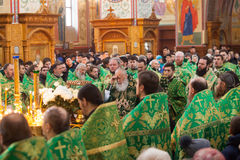 Church services in the Odessa Holy Assumption Monastery. ODESSA, UKRAINE - DECEMBER 2016: Monastic liturgy, Metropolitan Agafangel, in the cathedral church of stock photo