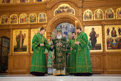 Church services in the Odessa Holy Assumption Monastery. ODESSA, UKRAINE - DECEMBER 2016: Monastic liturgy, Metropolitan Agafangel, in the cathedral church of stock image