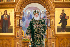 Church services in the Odessa Holy Assumption Monastery. ODESSA, UKRAINE - DECEMBER 2016: Monastic liturgy, Metropolitan Agafangel, in the cathedral church of royalty free stock images