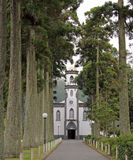 Church in Sete Cidades (Azores). Way to the little church Sao Nicolau in Sete Cidades (Sao Miguel, Azores royalty free stock images