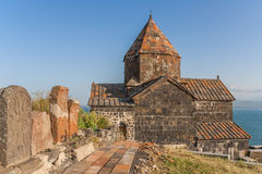 Church and Sevan lake in Armenia Royalty Free Stock Photos