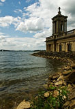 Church on the shore. The preserved church at Rutland Water, Leicestershire,England. This church was saved when several villages were flooded to create this stock photography
