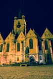 Church in Sibiu. The Lutheran Cathedral of Saint Mary is the most imposant church in Sibiu, Romania, a masterpiece of Gothic Architecture. Night-time Royalty Free Stock Photography