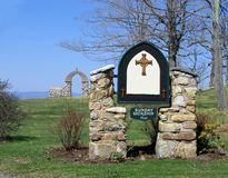 Church Sign. Stone marker on grounds of old church royalty free stock images