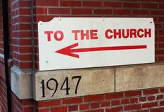 Church Sign. Sign directing people to an old church stock photos