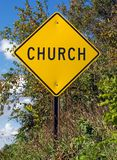 Church Sign. Photo of a yellow church road sign stock image