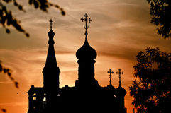 Church silhouette. Silhouette of the Russian church at sunset with vivid colors Stock Photo