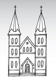 Church silhouette. Hand drawn cartoon illustration of an abstract church Royalty Free Stock Photography