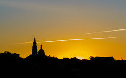 Church silhouette at colorful scenic sunrise Stock Image