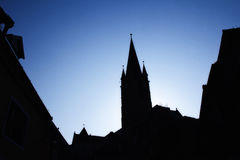 Church silhouette in the morning Stock Photo