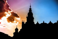 Church silhouette at sunset Royalty Free Stock Photography