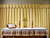 Church: simple modern altar with candles Stock Photography