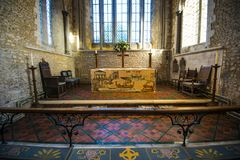 The historic tapestry at beautiful Bosham Church in West Sussex, England. An ancient site. stock photo
